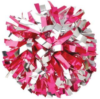 Getz Adult Cheer 2 Color Metallic Mix Pom NST16MSP HOT PINK/SILVER 3/4 W X 4 L (1024 STRANDS) SOLD INDIVIDUALLY  Cheerleading Poms  Sports & Outdoors