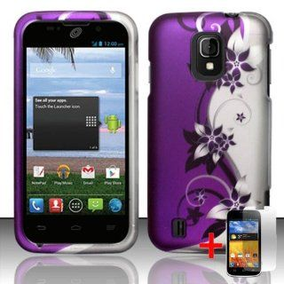 ZTE MAJESTY Z796C PURPLE SILVER FLOWER VINE COVER HARD CASE + FREE SCREEN PROTECTOR from [ACCESSORY ARENA] Cell Phones & Accessories
