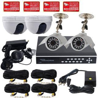 VideoSecu 4 Channel H.264 DVR Security Camera CCTV Real Time Digital Video Recorder System, Stand Alone CIF/HD1/D1 Resolution Digital Video Recorder Camera DVR System with 2000GB HDD Hard Drive, 2 Night Vision IR Color Bullet 6mm Lens CCD Outdoor Security