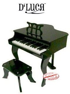D'LUCA 30 KEYS CHILDREN BABY GRAND PIANO WITH BENCH BLACK DLBGP  Toys & Games