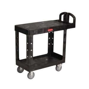 Rubbermaid Commercial Products Heavy Duty Black 2 Shelf Utility Cart with Flat Shelf in Small RCP 4505 BLA