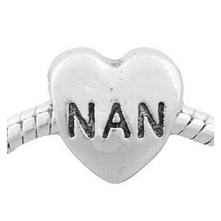 Silver Plated (299) NAN Heart Shape Charm, will fit Pandora/Troll/Chamilia Style Charm Bracelet. Jewelry