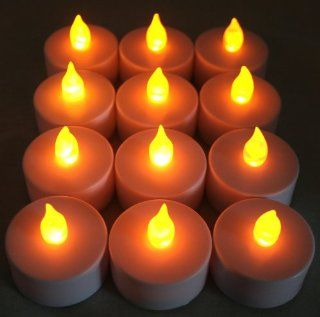 BlueDot Trading LED Battery Operated Flameless Flickering Tea Lights, Amber, 12 Pack   String Lights