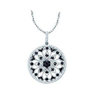 "10k White Gold Black Colored & Natural Diamond Circle Cluster Antique style Womens Ladies Fashion Pendant with 18"" Chain   .50 (1/2) Ct.t.w. Jewelry"
