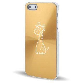 Apple iPhone 5 5S Gold 5C66 Aluminum Plated Hard Back Case Cover Cute Giraffe Cartoon Cell Phones & Accessories
