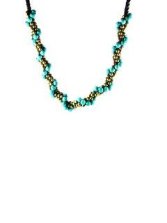 Plaited Dragon Turquoise with Gold Brass Beads Necklace Jewelry