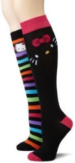 Hello Kitty Womens Two Pair Pack Knee Highs Socks, Black/Multi, One Size Clothing