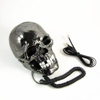 Cool Skull Head Shape Telephone with LED Flash Eyes Desktop Gift   Corded Telephones