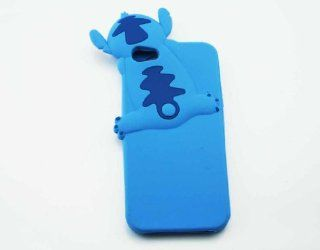 T WELL Cartoon Stitch Silicone Rubber Soft Cover Back Case For Apple iPhone 5 5G Blue PA Cell Phones & Accessories