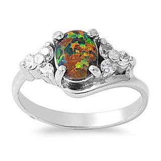 10MM Celtic 5ctw Sterling Silver LARGE OCTOBER BLACK FIRE OPAL BIRTHSTONE ROUND Ring 5 11 & 6.5, 7.5 Jewelry