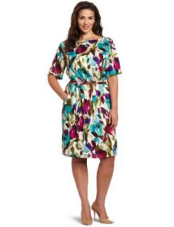 Jessica Howard Women's Plus Size Floral Blouson Dress, Multi, 14W