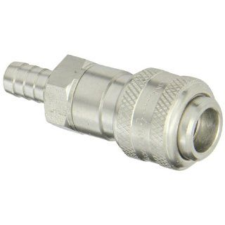 "Dixon Valve 4DS4 S Stainless Steel 303 Automatic Industrial Interchange Pneumatic Fitting, Socket, 1/2"" Coupler x 1/2"" Hose ID Barbed Quick Connect Hose Fittings"