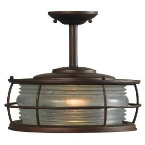 Hampton Bay Harbor 1 Light 12 in. Outdoor Hanging Copper Convertible Flush Mount HDP11970