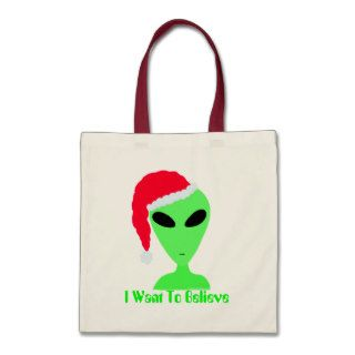 Funny Santa Alien Christmas Canvas Gift Bag Tote