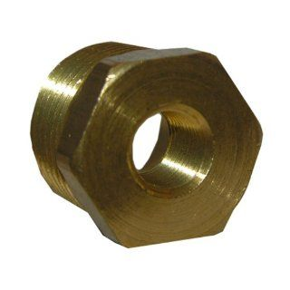 LASCO 17 9245 3/8 Inch Male Pipe Thread by 1/4 Inch Female Pipe Thread Brass Hex Bushing   Pipe Fittings