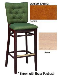 "Beechwood Button Tufted Back 24"" High Counter Stool Natural/Brass/Laredo Saddle   Barstools"