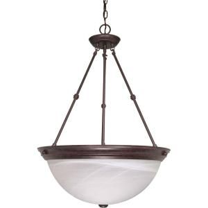 Glomar 3 Light Old Bronze Pendant with Alabaster Glass HD 212