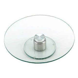 Clear Round Revolving Glass Cake Plate Stand Kitchen & Dining