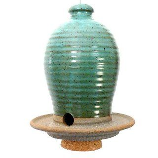 Beehive Bird Seed Feeder Hand thrown Weatherproof Stoneware Pottery, Teal Color