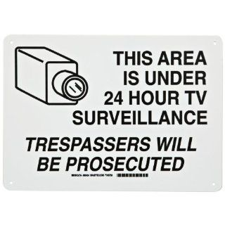 "Brady 95424 10"" Height, 14"" Width, B 401 Plastic, Black On White Color Security Area Sign, Legend ""This Area Is Under 24 Hour Tv Surveliillance Trespassers Will Be Prosecuted (With Picto)"" Industrial Warning Signs Industrial & Sci"
