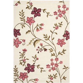 Safavieh CPR354A Capri Collection Ivory and Purple Handmade Wool Area Rug, 6 by 9 Feet   Pink Area Rug
