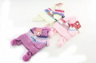 Hello Kitty Toddler Girls Winter Chenille Hat and Mittens Set 2 4 Year Toys & Games