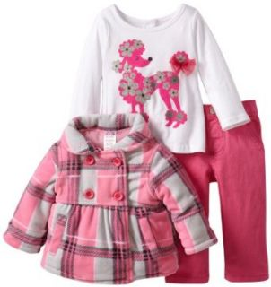 Nannette Baby Girls Infant 3 Piece Plaid Poodle Jacket with Shirt and Pant, Pink, 18 Months Infant And Toddler Pants Clothing Sets Clothing