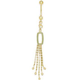 Solid 14k Yellow Gold Modern Bold Drop Belly Ring Body Piercing Barbells Jewelry