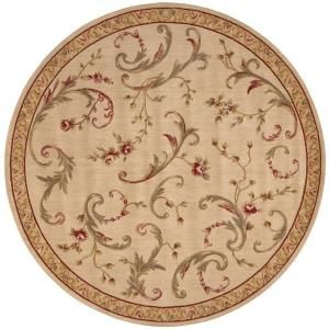 Nourison Rug Boutique Floral Vines Beige 5 ft. 6 in. Round Area Rug 196712
