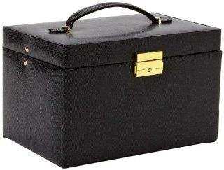 Paylak TS382BLK Genuine Black Leather Large Jewelry Box with Travel Case Tech Swiss Watches