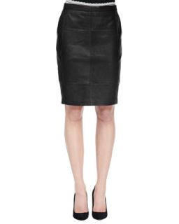 Womens Leather Pencil Skirt   Halston Heritage