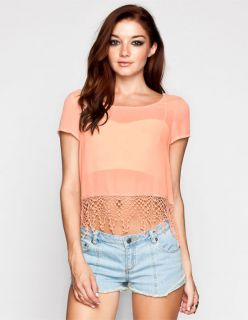 Womens Fringe Crop Top Peach In Sizes X Large, Medium, Small, Large,