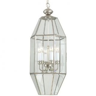 Pewter Cage Chandelier with Six Lights   Ceiling Pendant Fixtures
