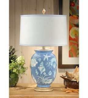 Wildwood Lamps 11836 Blue Sea Sea Shells 1 Light Table Lamps in Hand Painted Porcelain
