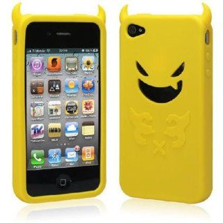 ZuGadgets Yellow / Devil Design Silicon Case Cover Protector for iPhone 4 +Free Screen Protector and Charge USB Cable (397 10) Cell Phones & Accessories