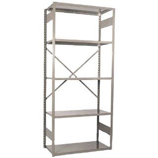 "Equipto 663W5S V Grip 18 Gauge Heavy Duty Steel Open Shelf Starter Unit with 5 Shelves, 440 lbs Shelf Capacity, 48"" Width x 84"" Height x 18"" Depth, Putty Tool Utility Shelves"