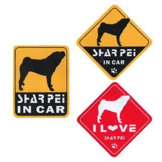 """I Love Sharpei"" Dog in Car Bumper Stickers (3 Decal Pack)"