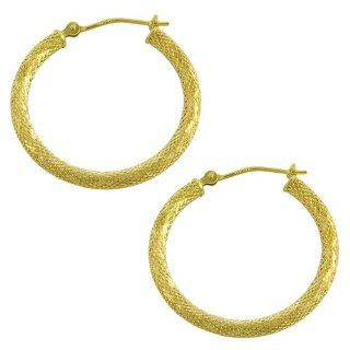 14 Karat Yellow Gold Diamond Cut Hoop Earrings (25 mm) Jewelry