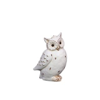 White Antique Finish Ceramic Owl Urban Trends Collection Accent Pieces