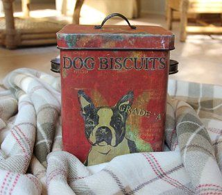 Creative Co op Boston Terrier Dog Treat Tin Box Bucket Shabby Cottage Chic   Decorative Boxes