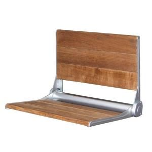 19 in. Teak Wall Mount Slatted Shower Seat with Backrest with Anodized Aluminum Trim ISS119