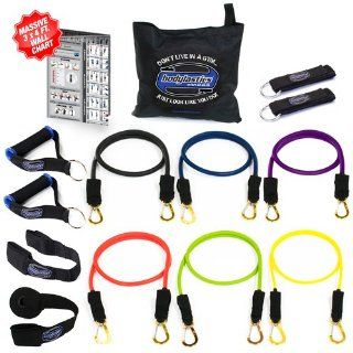 Bodylastics 14 pcs Snap Guard Resistance Bands Set with 6 Stackable anti snap exercise tubes, Heavy Duty components, carrying case, massive 3x4 ft. Wall Chart, and FREE 3 month access to over 2000 full length resistance bands workout videos from Pilates to