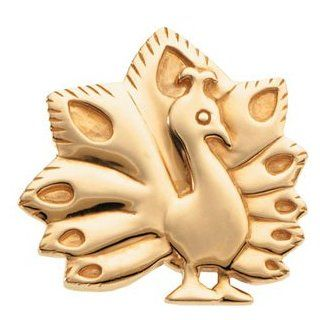 24.50X25.50 MM 14K Yellow Gold The Problem Solving Peacock Brooch Brooches And Pins Jewelry