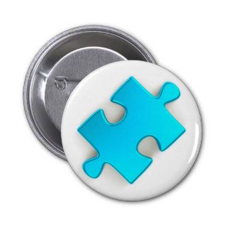 3D Puzzle Piece (Metallic Light Blue) Buttons