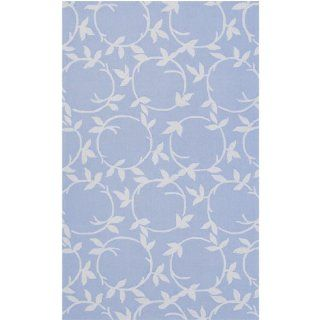 8' x 10' Blossoming Vine Silvered Blue Gray Wool Area Throw Rug