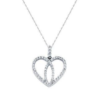 "14K White Gold CZ Interlocking Hearts Charm Pendant with 1.0mm Anchor Link Mariner Chain Necklace Set   18"" Inches The World Jewelry Center Jewelry"