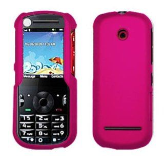 Hard Plastic Snap on Cover Fits Motorola VE440 Solid Hot Pink (Rubberized) MetroPCS Cell Phones & Accessories