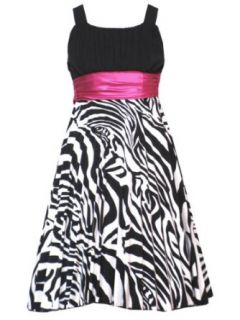 Rare Editions Girls 7 16 BLACK WHITE FUCHSIA PINK ZEBRA PRINT BUBBLE SKIRT Special Occasion Wedding Flower Girl Easter Birthday Party Dress /RRES S14 Clothing