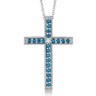 Blue and White Diamond Cross Pendant Necklace 14k White Gold (0.33ct) Jewelry