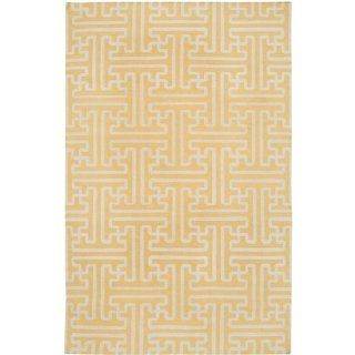 5' x 8' Block Pillars Yellow and Ivory Hand Woven Wool Area Throw Rug